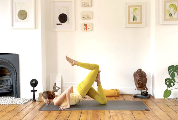 Core stability for deepening backbends, knees-chest-chin play